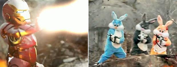 A pequena notável luta com coelhos armados em vídeo de Patrick Boivin