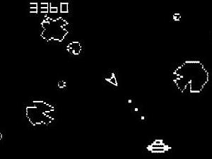 Tela do jogo de batalhas 'Asteroids'.
