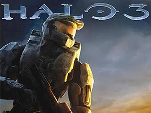 Detalhe da capa de game da série 'Halo'.