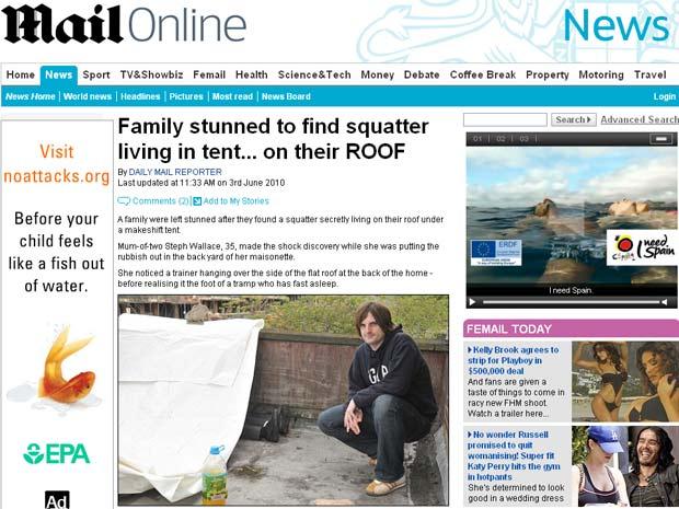 Peter Wallace encontrou barraca em seu telhado