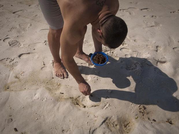 Morador recolhe bolas de piche (alcatrão) em Pensacola,  Flórida