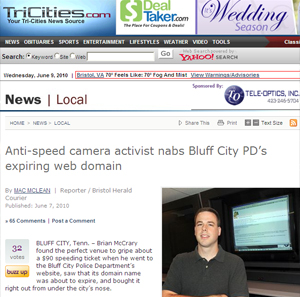 Brian McCrary usa página para publicar links com reclamações.