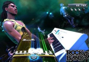 'Rock band 3' traz teclado como novo instrumento.