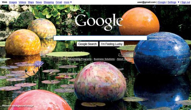 Google sugere imagens de fundo aos usuários.