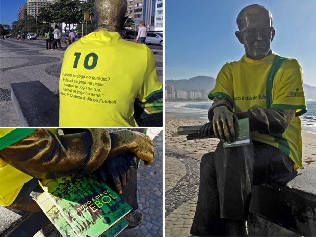 estátua carlos drummond de andrade - praia de copacabana - copa