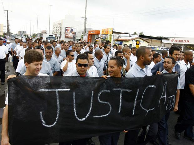Protesto de motoristas de ônibus na Bahia