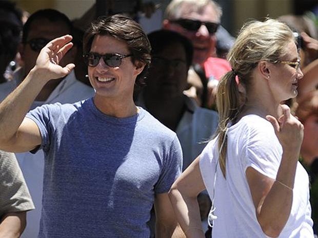 Tom Cruise e Cameron Diaz promovem 'Encontro explosivo' na Espanha.