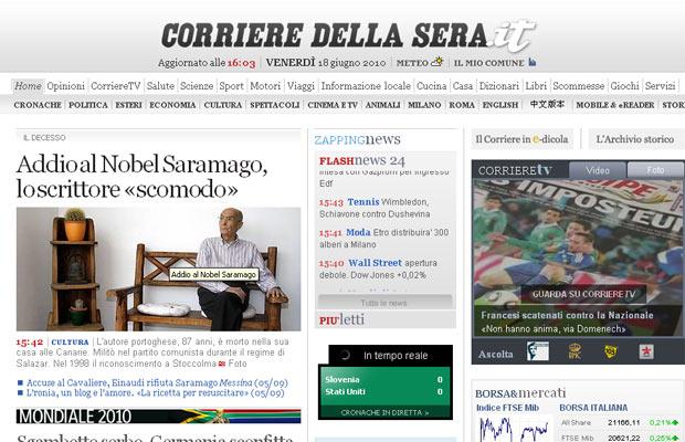 Corriere Della Sera destaca morte de Saramago