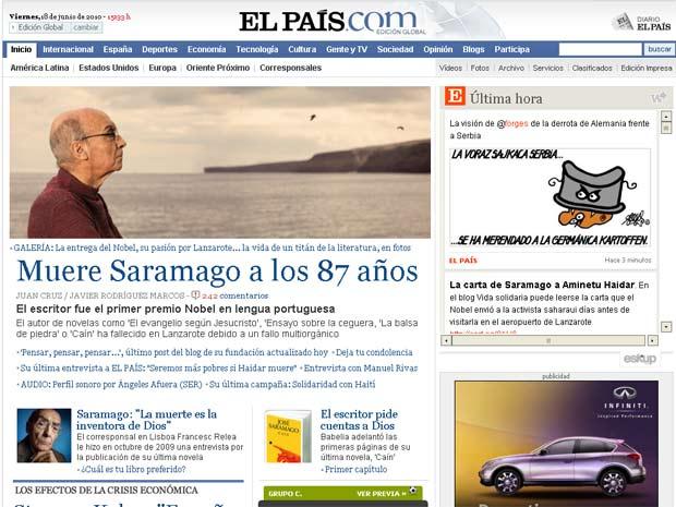O site do jornal 'El País' trazia na manhã desta sexta a notícia da morte de Saramago na capa