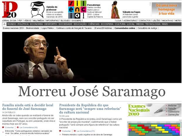 O site do jornal português 'Publico' destacou a morte do escritor nesta sexta (18)