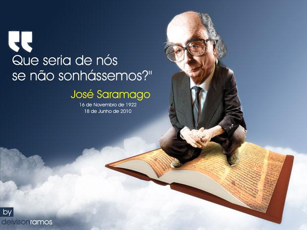Charge em homenagem ao escritor José Saramago