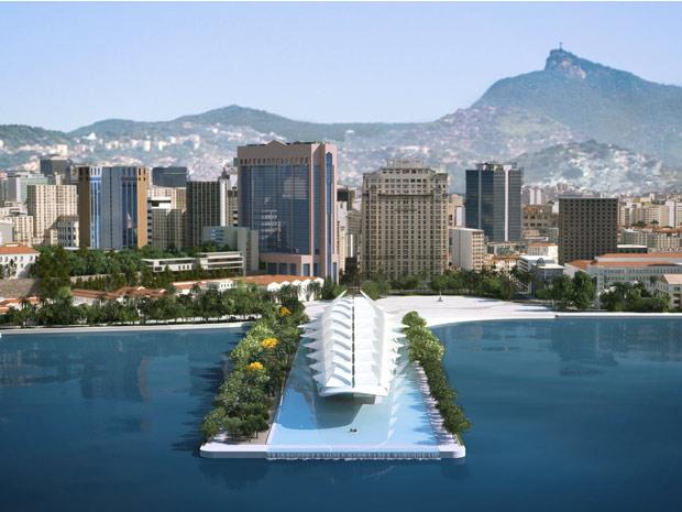 Uma foto computadorizada mostra como deve ficar o Centro do Rio depois de pronto o Museu do Amanhã.