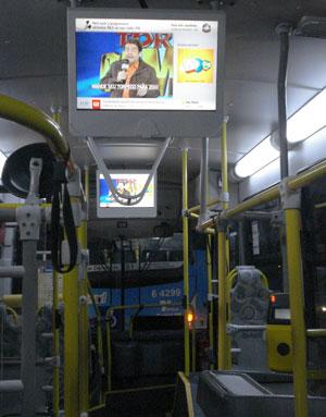 Alguns ônibus da capital paulista já possuem televisores com conteúdo da Globo.