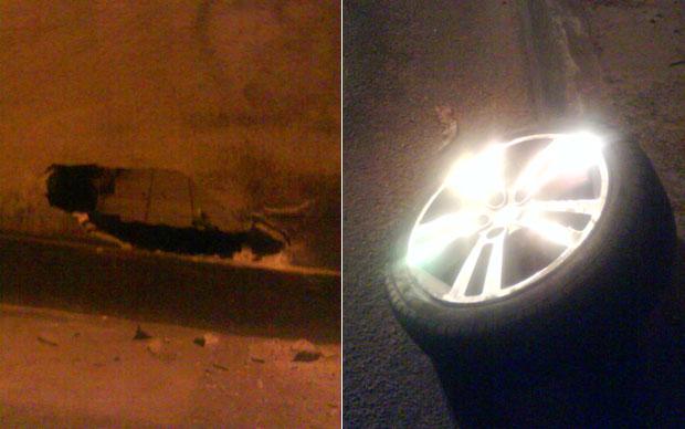 Muro ficou com um buraco após ser atingido pelo veículo, que perdeu uma das rodas