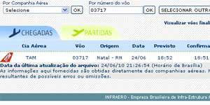 Imagem mostra informações sobre o voo no site da Infraero