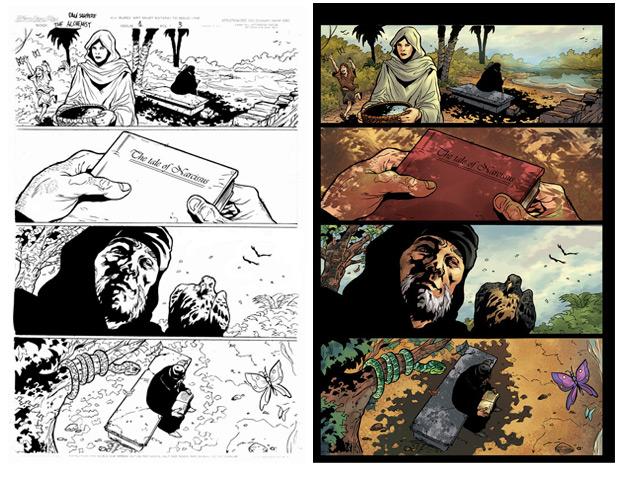 Imagem de uma das páginas da versão em quadrinhos do livro 'O  alquimista', de Paulo Coelho