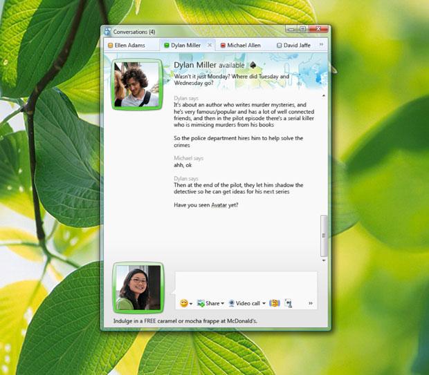 Abas agrupam diversas conversas entre os contatos do Messenger.