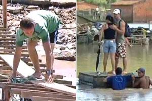 Moradores de AL e PE improvisam pontes e balsas; veja vídeo (Reprodução/TV Globo)