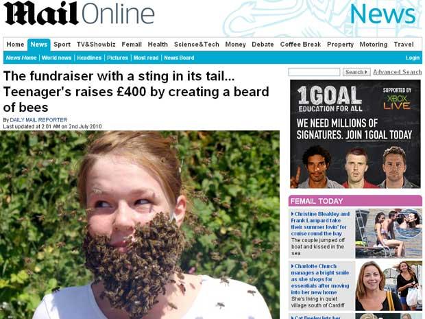 Nellie Odam-Wilson posa com sua barba feita com mel e abelhas
