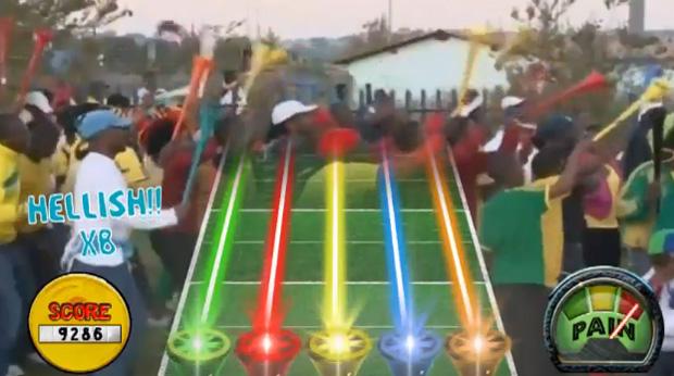 Um vídeo que brinca com as vuvuzelas, a corneta responsável pelo som irritante que marcou a Copa do Mundo de 2010, está fazendo sucesso na internet. Ele mostra o game 'Vuvuzela hero', que faz sátira do game 'Guitar hero'. Nele, para tocar a canção, basta