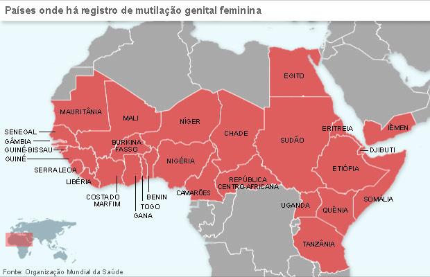 Mapa localiza países onde a mutilação genital feminina está documentada