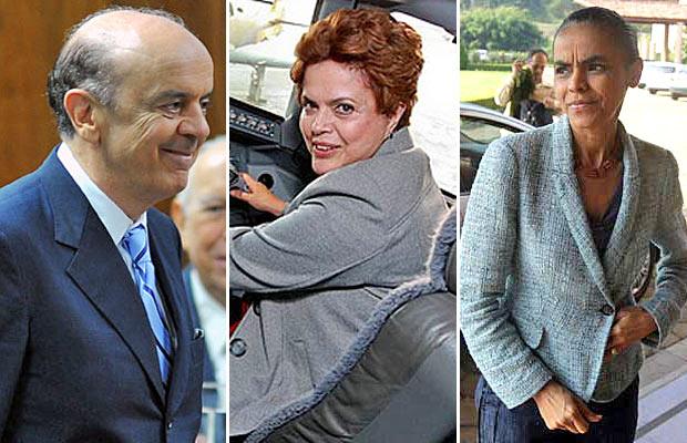 Os candidatos à Presidência José Serra (PSDB), Dilma Rousseff  (PT) e Marina Silva (PV)