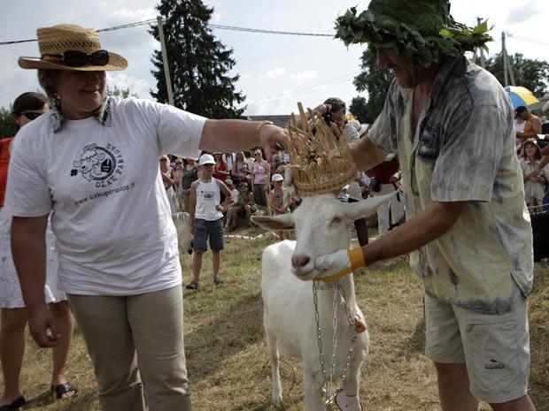 Grazyolyte venceu o concurso de cabra mais bonita na Lituânia