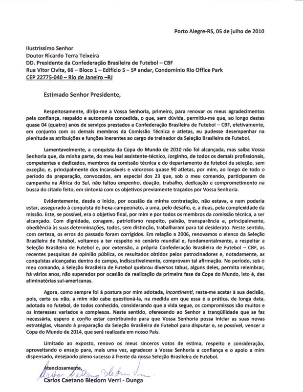 Dunga se despede em carta destinada ao presidente da CBF, Ricardo Teixeira