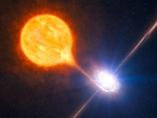 Reprodução artística do sistema binário observado na NGC 7793, no qual o buraco negro está inserido.