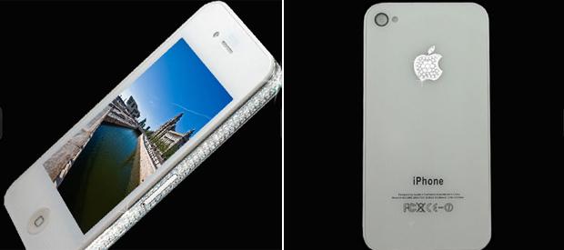 Ele já lançou versões luxuosas do iPad, modelos diversos do  iPhone e gadgets de outras empresas. O designer Stuart Hughes apresentou  agora sua versão do iPhone 4 com detalhes em diamante. O aparelho  desbloqueado de 32 GB é vendido no site da empresa por