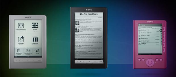 Leitores digitais da Sony, Touch (E), Daily (C) e Pocket (D)  estão mais baratos.