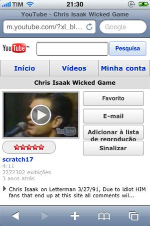 Versão mobile do YouTube apresenta todo o conteúdo de vídeos  da versão para desktops.