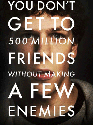 Pôster do filme 'The social network', baseado no Facebook