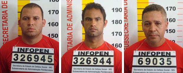Fotos do registro de prisão do ex-policial, Marcos Aparecido Santos, do goleiro Bruno e de Luiz Henrique Ferreira Romão, o Macarrão