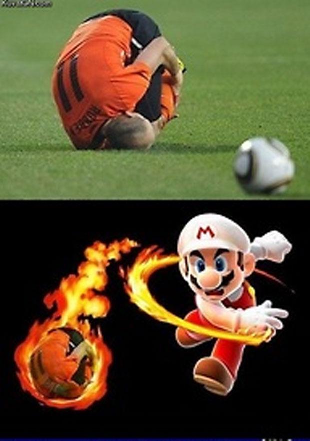 O jogador Robben, em pose de bola, acabou entrando no mundo dos games.