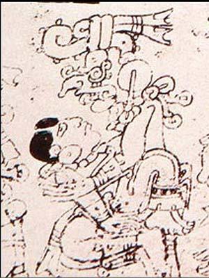 Um deus chaac com a deusa lunar; a posição sugere uma cópula.