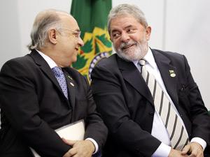 Presidente Lula e o ministro da Secretaria Especial de Direitos Humanos, Paulo Vannuchi, durante cerimônia de comemoração dos 20 anos do Estatuto da Criança e do Adolescente