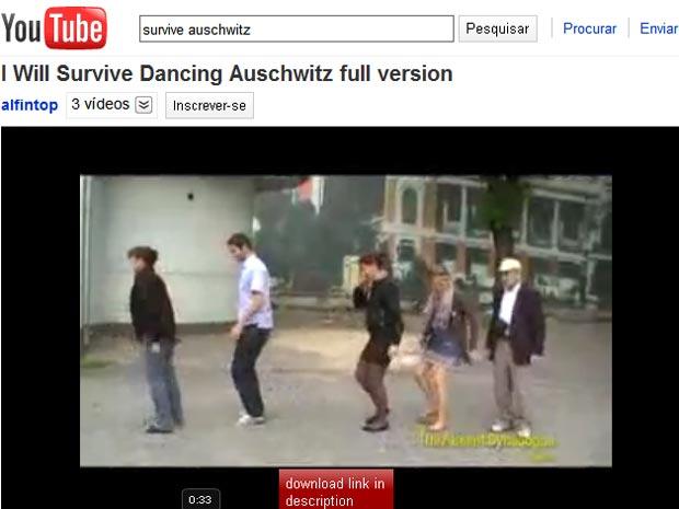Imagem do clipe de 'I will survive' gravado em Auschwitz, retirada de site de compartilhamento de vídeos.