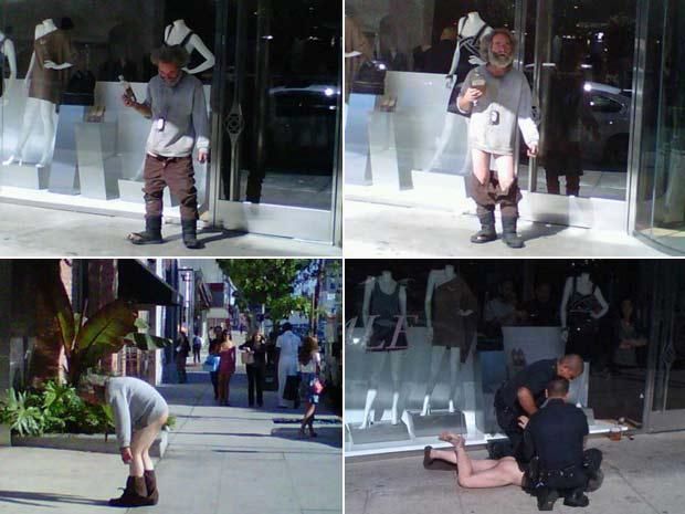 Homem foi preso depois que baixou a calça no centro de West Hollywood.