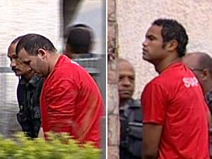 Bruno e Macarrão chegam a delegacia em Belo Horizonte