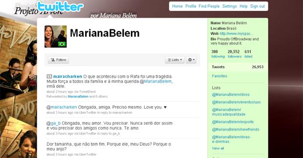 Irmã de Rafael, Mariana Belém recebeu mensagens de carinho pelo Twitter.
