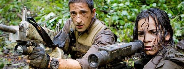 Adrien Brody e Alice Braga em 'Predadores': atriz só quis usar rifle de verdade.