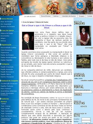 Reprodução da págia com o artido do bispo de Guarulhos