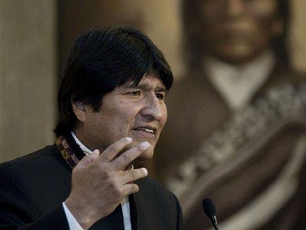 O presidente da Bolívia, Evo Morales, discursa em 19 de julho.