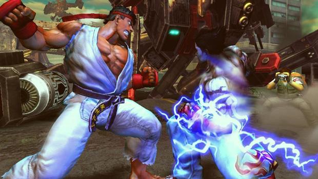 Ryu e Kazuya se enfrentam em game de luta.