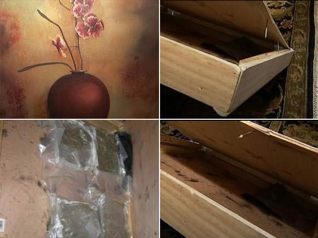 Americano encontrou 1,8 quilo de maconha escondido em um quadro.