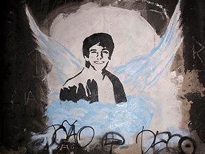 O retrato de Rafael Mascarenhas foi pintado na parede do Túnel Acústico