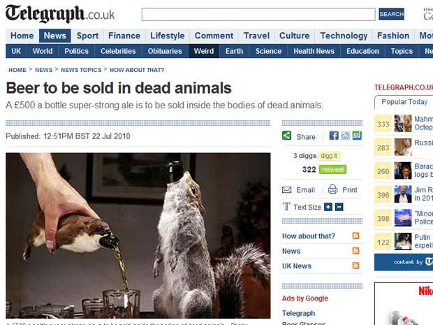 Cerveja vem alojada dentro de um animal morto.