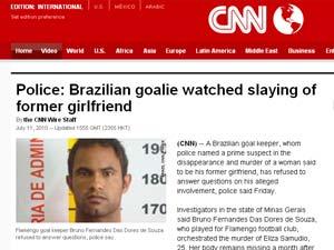 Página da rede americana de TV CNN reúne reportagens sobre o caso Bruno