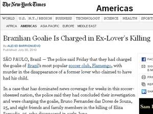 Página do jornal 'New York Times' com reportagem sobre a conclusão do inquérito do desaparecimento de Eliza Samúdio